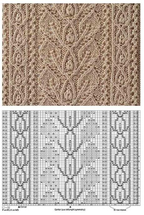 Схема вязания узора листья спицами