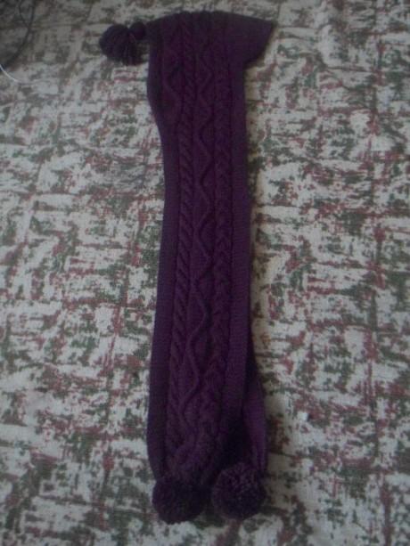 Интересный шарф-капюшон спицами