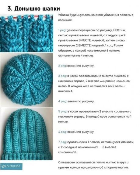 Красивая шапка спицами 5
