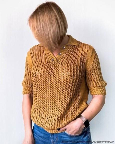 Женский пуловер - поло спицами 0