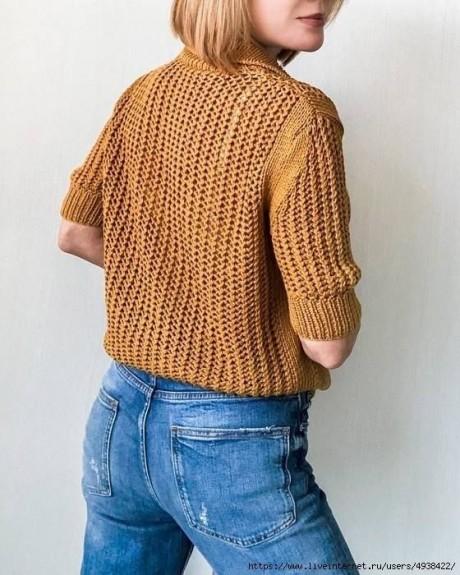 Женский пуловер - поло спицами 1