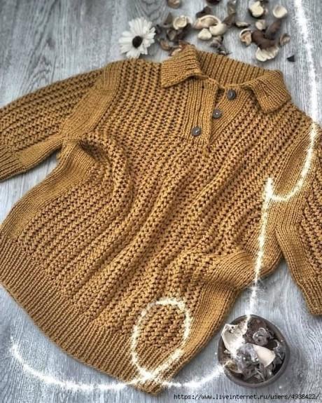 Женский пуловер - поло спицами 2