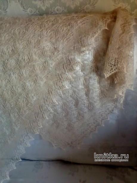 Ажурный палантин спицами. Работа Нины Ивановны вязание и схемы вязания