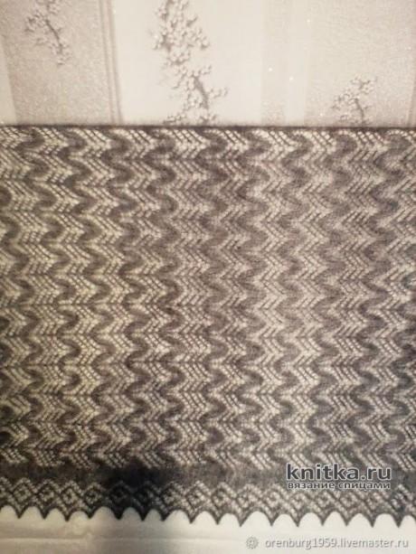 Серый ажурный палантин из козьего пуха. Работа Нины Ивановны вязание и схемы вязания