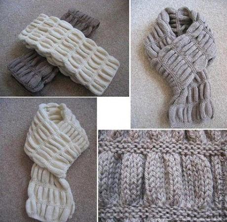 Объемный узор спицами для шарфа или повязки