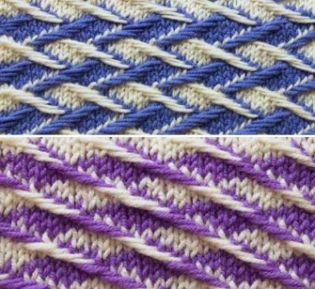 Подборка двухцветные узоры спицами 0