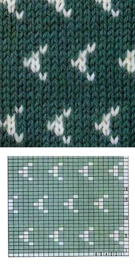Двухцветные узоры спицами, подборка схем