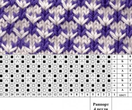 Схемы двухцветных узоров спицами
