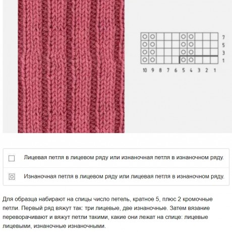 простой узор спицами резинка 3*2