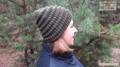 Женская шапка спицами с узором Волна 0