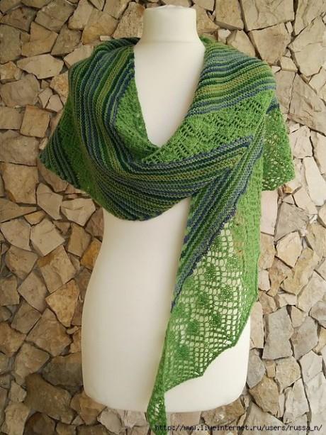 Вязанная спицами шаль AFETOS. Вязание спицами.