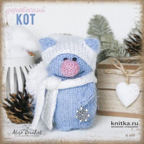 Деревенский котик, игрушка спицами. Работа Alise Crochet вязание и схемы вязания