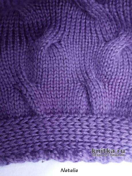 Женский берет спицами. Работа Натальи вязание и схемы вязания