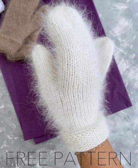 Варежки из пуха норки связанные спицами. Вязание спицами. 0n