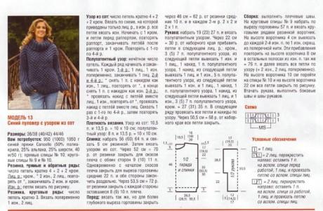 Схемы вязания и описание свитера крупной вязки