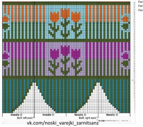 Схема для варежек с тюльпанами