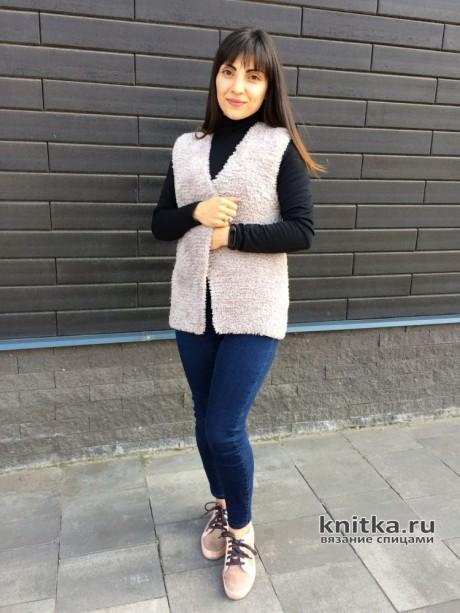 Меховая жилетка спицами Мишка вязание и схемы вязания