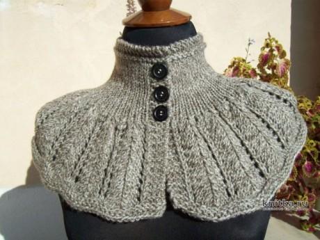 Съёмный воротник МАНИШКА спицами, видео-урок вязание и схемы вязания
