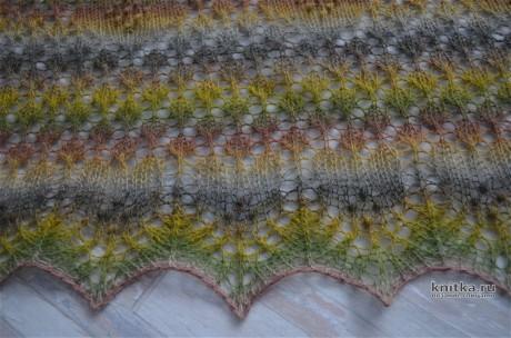 Шаль спицами из пряжи Дундага. Работа Светланы Гола вязание и схемы вязания