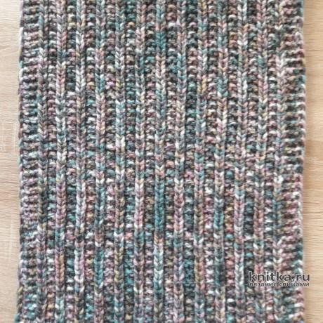 Шапка и снуд спицами из меланжевой пряжи. Работа Светланы Гола вязание и схемы вязания