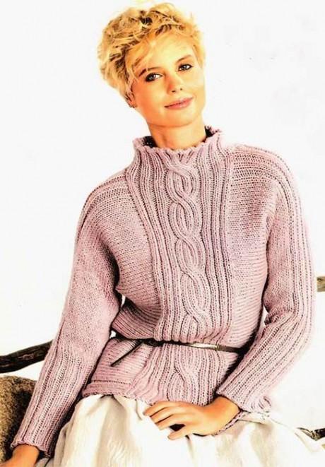 Шерстяной женский свитер с косой