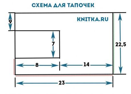Схема / выкройка тапочек спицами на 38 размер