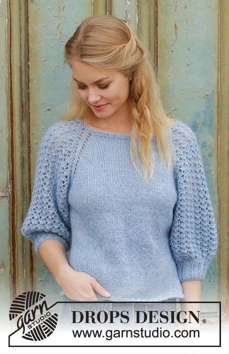 Пуловер для женщин регланом с ажурными рукавами. Вязание спицами.
