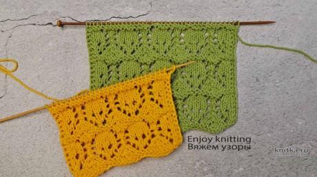 АЖУРНЫЙ узор спицами для палантина или шали. Видео МК + Описание вязание и схемы вязания