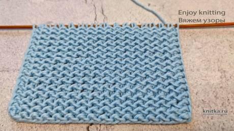 ДВУХСТОРОННИЙ Плотный узор спицами в Один Ряд. Видео МК + описание вязание и схемы вязания