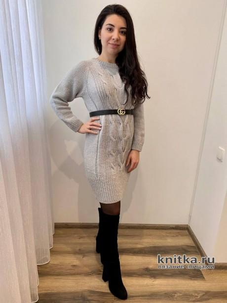 Джемпер-платье туника регланом сверху спицами. Работа Анаит вязание и схемы вязания
