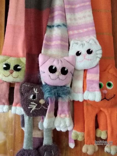 Комплекты Шарфики-котики и шапочки с ушками. Работы Натальи вязание и схемы вязания