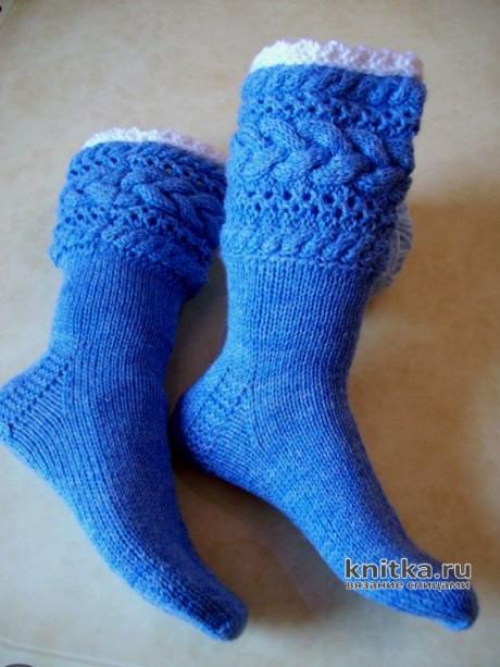 Носки спицами СНЕЖНАЯ КОРОЛЕВА вязание и схемы вязания