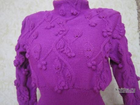 Платье спицами из бобинного акрила в 5 сложений. Работа Натальи Круминьш Романович вязание и схемы вязания
