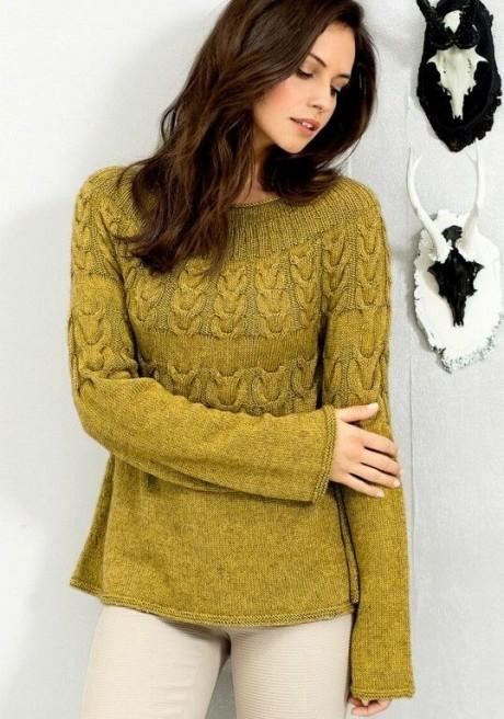 Женский джемпер с красивой круглой кокеткой. Вязание спицами.