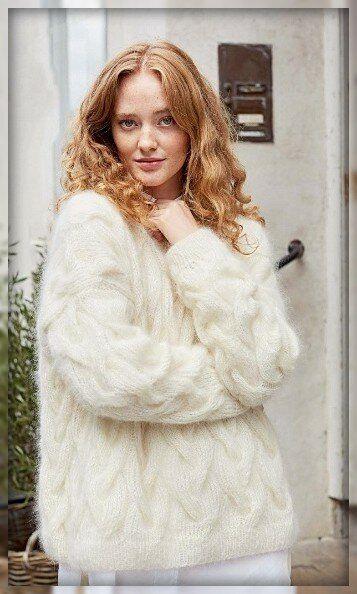 Красивый женский джемпер с рельефными косами  0