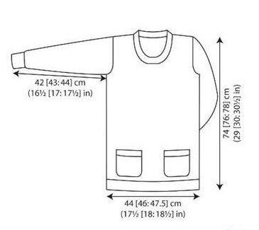 Удлиненный свитер туника спицами 1