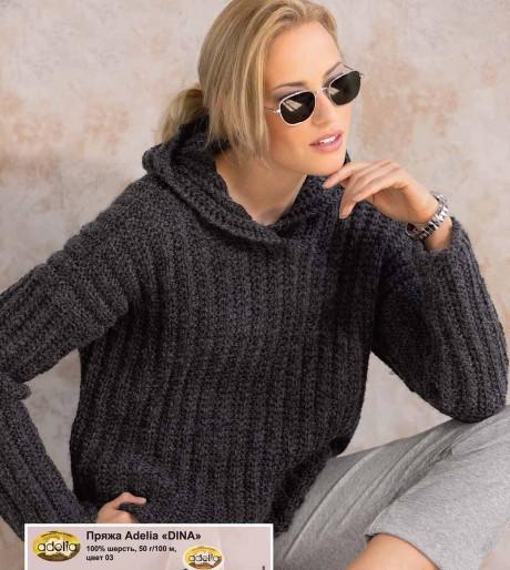 Женский джемпер, худи с капюшоном связанный спицами. Вязание спицами.