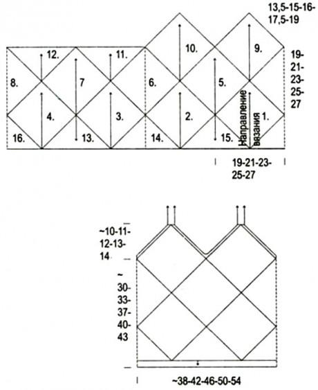 Схема вязания топа спицами