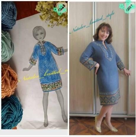 Платье Талисман с жаккардом, спицами. Вязание спицами.
