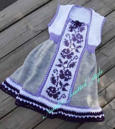 Платье Май для девочки спицами. Вязание спицами. 0n