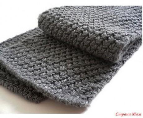 Простой мужской шарф спицами