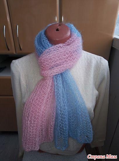 Женский шарф из кид-мохера спицами 0