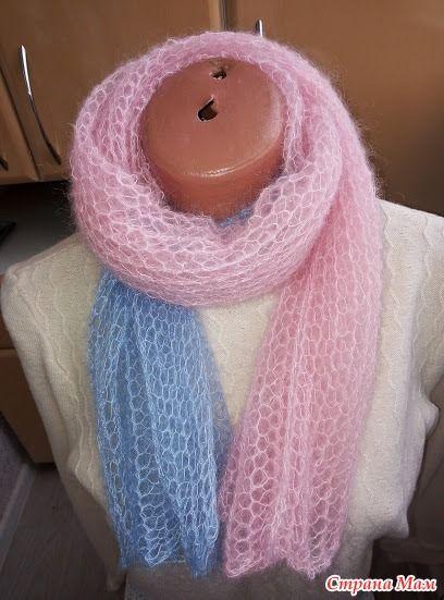 Женский шарф из кид-мохера спицами 1