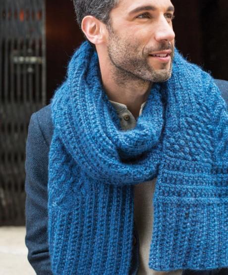 Вязание мужского шарфа спицами, подборка схем и описаний. Вязание спицами.