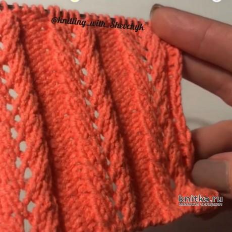Узор спицами Ажурные дорожки вязание и схемы вязания