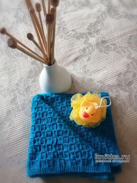 Вяжем полотенце премиум-класса спицами из бамбука. Работа Светланы. Вязание спицами.