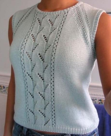 Летний топ спицами для женщин с имитацией реглана. Вязание спицами. 0n