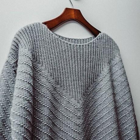 Оригинальный узор для пуловера спицами 1