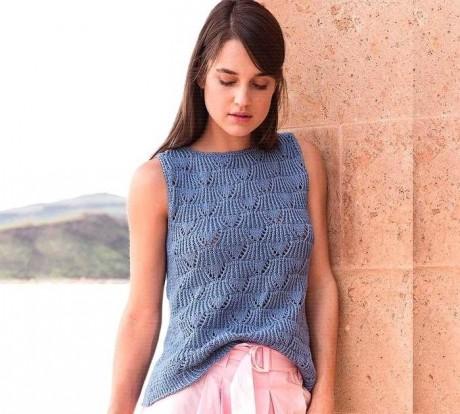 Синий топ спицами для женщин. Вязание спицами.