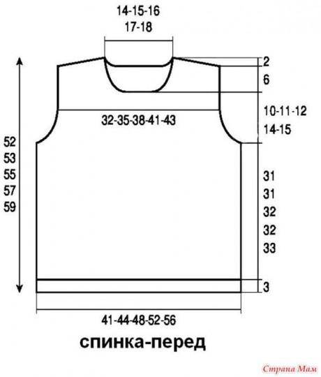 Летний топ спицами с имитацией реглана 2